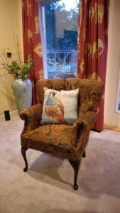 Quail pillow on chair
